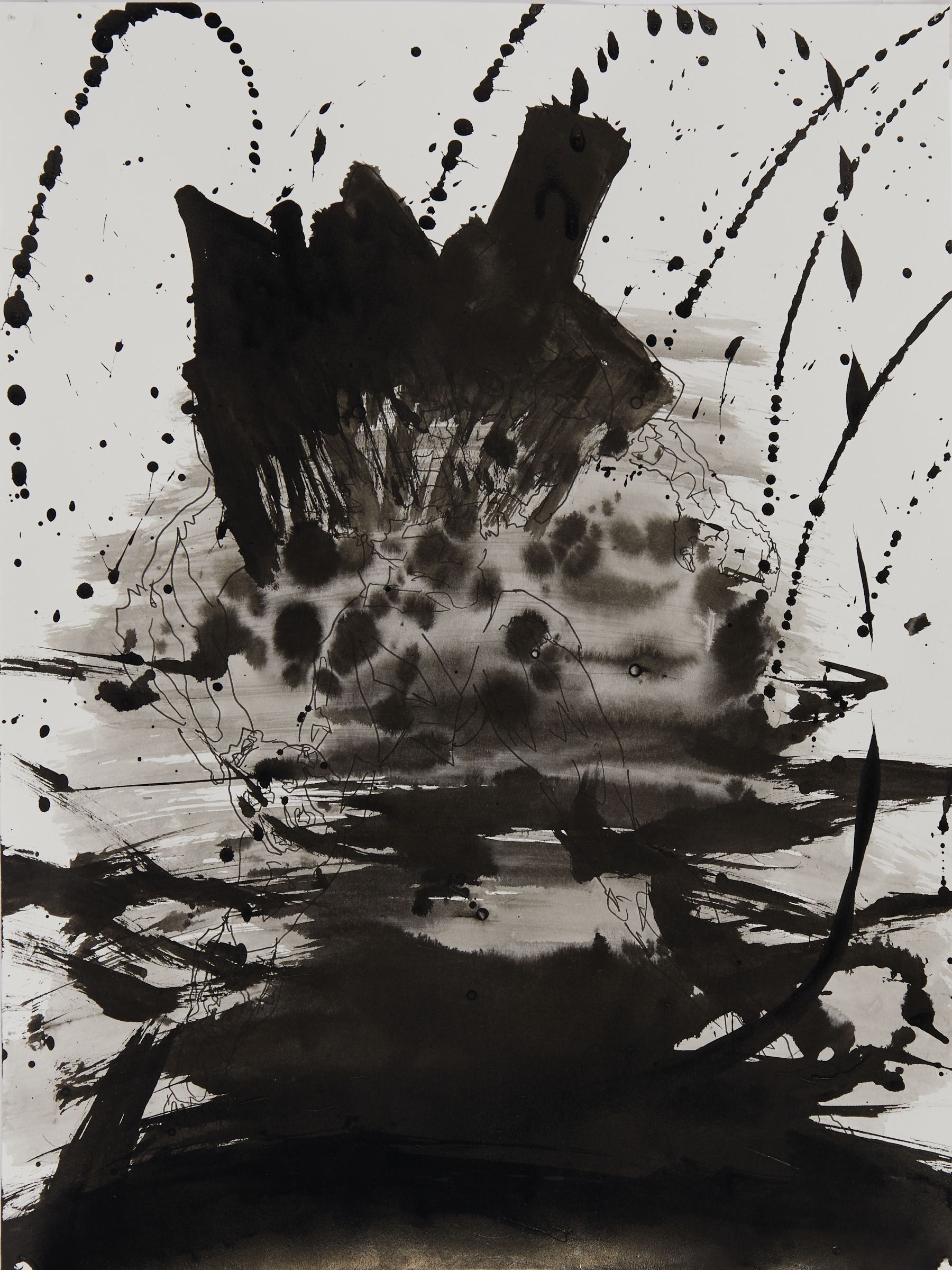 Mike Jones, Aftermath, 2020, Sumi ink and pencil, 9 x 12 inches