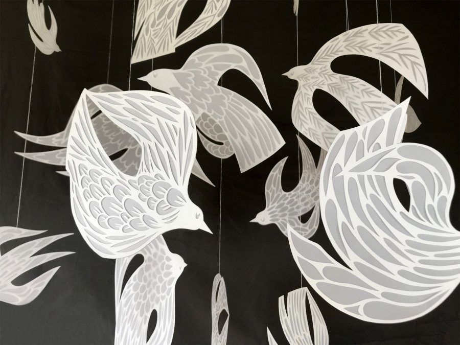 Sophie Gerry, Birds in Flight, 2020, bristol paper, vellum, and white thread, size range of 9 x 7 to 3 x 2 inches