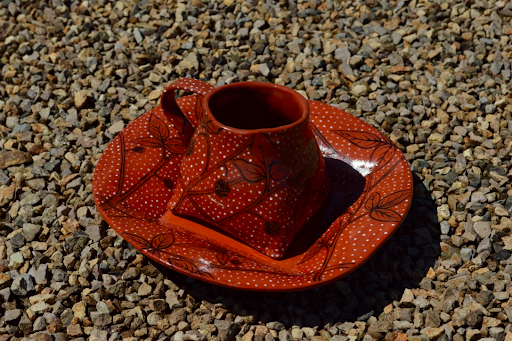 Madeline Schapiro, Raspberry Set, 2020, earthenware ceramics, 10 x 10 inches