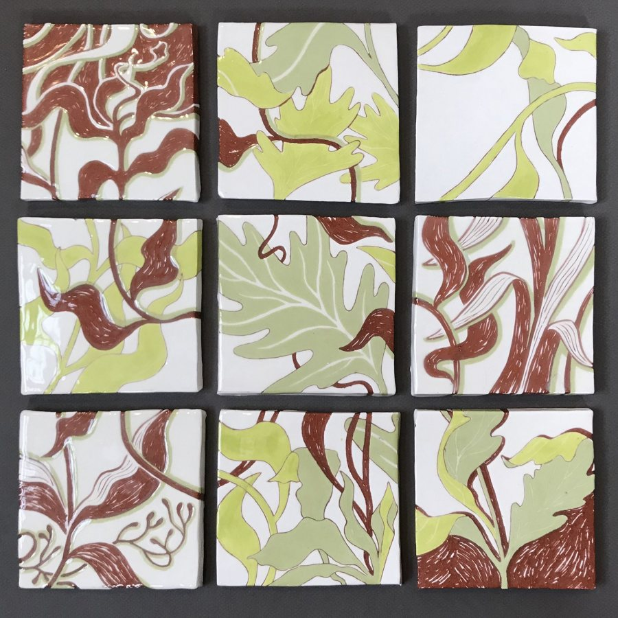 Sophie Gerry, Garden Tiles, 2020, earthenware with white slip, green underglaze and clear glaze, each 4 1/2 x 4 1/2 inches