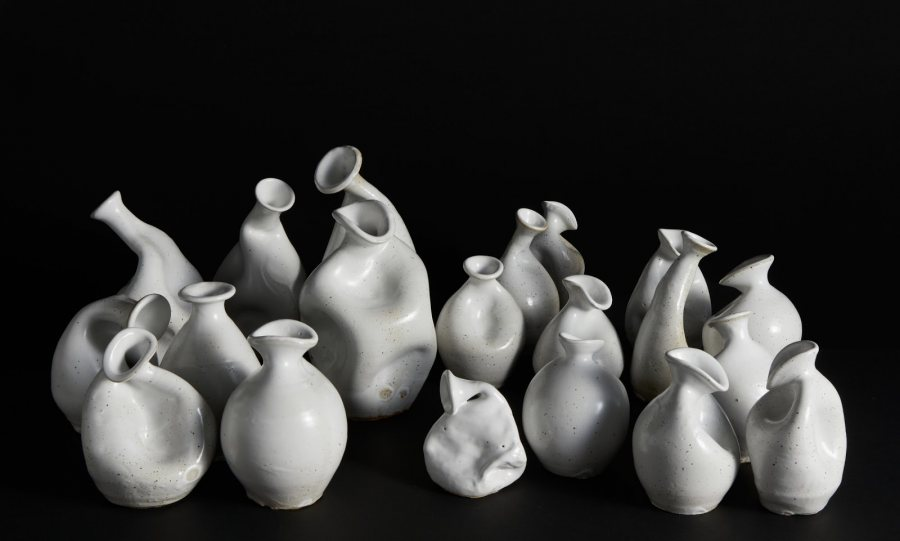 Celia Feal-Staub, Gut Feeling, 2019, reduction fired stoneware, sizes range from 4 x 3 x 4 to 4 x 4 x 12 inches