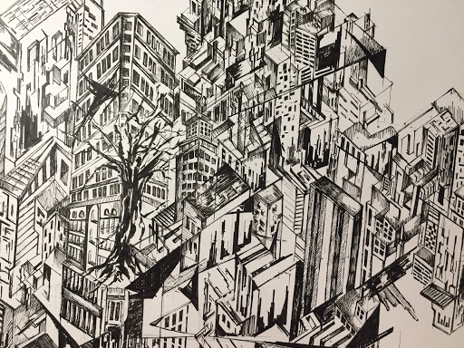 Philip Wu, Another World (detail), 2020, ink on bristol paper, 14in x 17in