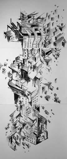 Philip Wu, Untitled, 2020, ink and brush pen on bristol paper, 21in x 8in