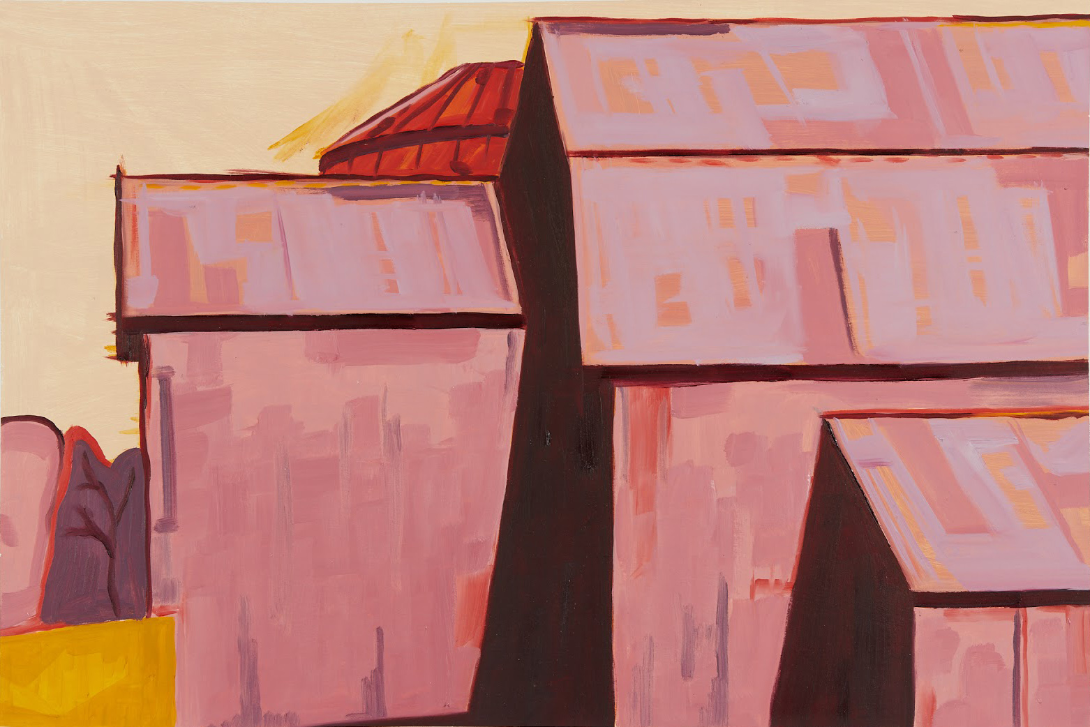 "Otis Klingbeil, Vermont Barn 1, 2020, Oil paint and gesso on matte board, 15 1/2"" x 23 1/2"""
