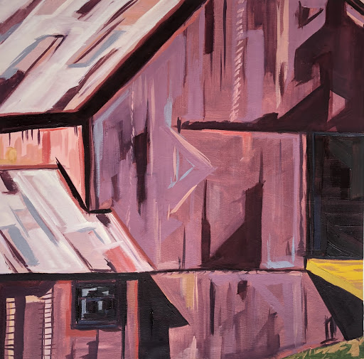 "Otis Klingbeil, Vermont Barn #2, 2020, Oil paint and gesso on mat board, 16"" x 16"""