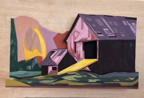"Otis Klingbeil, Vermont Barn #5, 2020, Oil paint and gesso on mat board and 3/4"" plywood, 35"" x 24"""