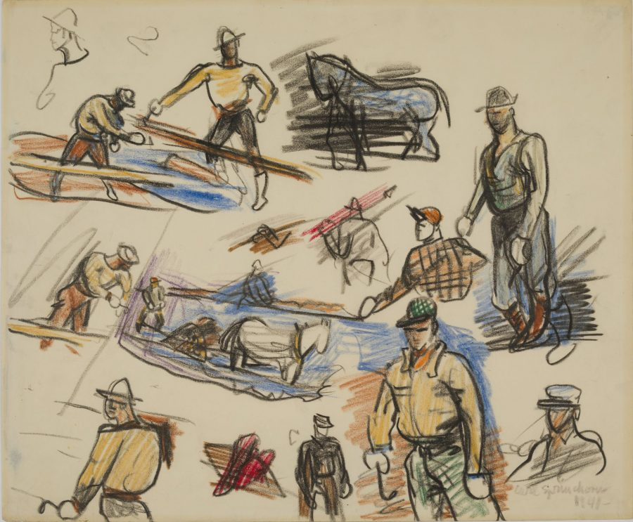 Twitchers at Jerry's Landing, May 10-14, 1941, crayon on paper, 2018.5.37