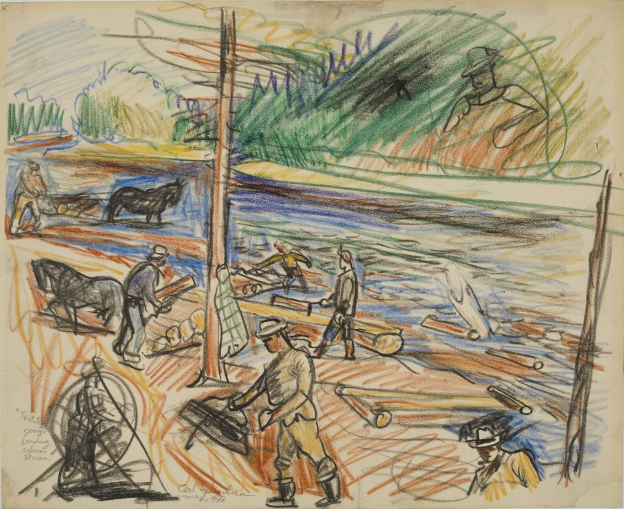 Twitching, Jerry's Landing – Seboies, May 10-14, 1941, crayon on paper, 2018.5.39