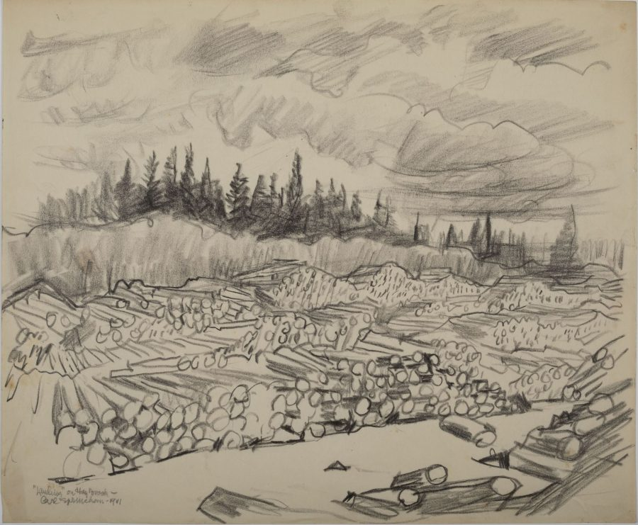 Landing on the Brook, 1941, charcoal on paper, 2018.5.96