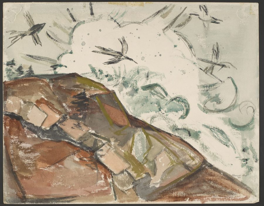 Chenoweth Hall, Storm at Schoodic, 1950, watercolor on paper, Bates College Museum of Art, gift of Miriam Colwell