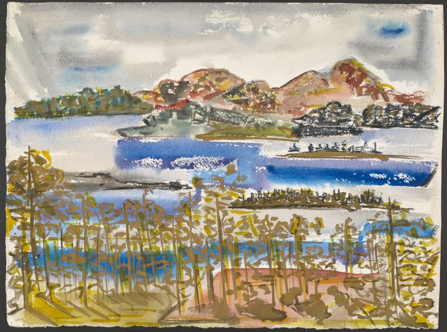 Chenoweth Hall, October on the Lake, watercolor on paper, Bates College Museum of Art, gift of Miriam Colwell for Chenoweth Hall