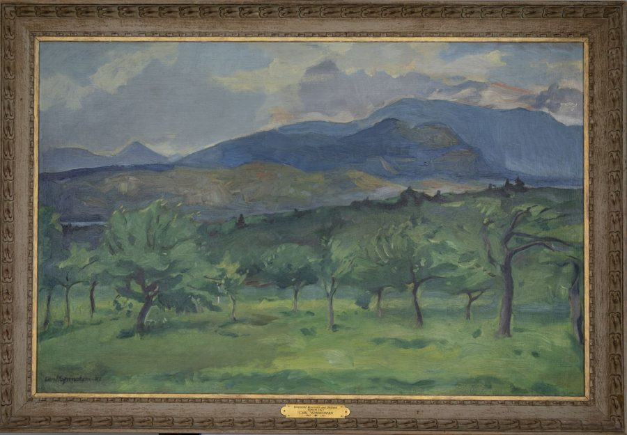 Borestone Mountain and Orchard, Monson (Distant Rain), 1911, oil on canvas mounted on masonite, 2018.5.86