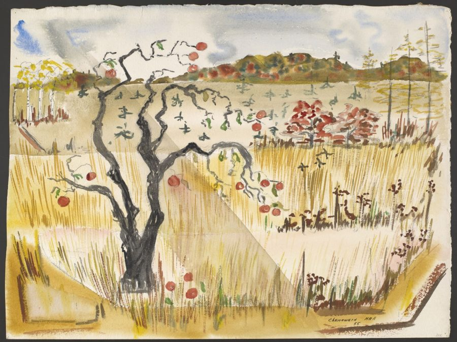 Chenoweth Hall, Harvest Spectrum, 1955, watercolor on paper, Bates College Museum of Art, gift of Chenoweth Hall