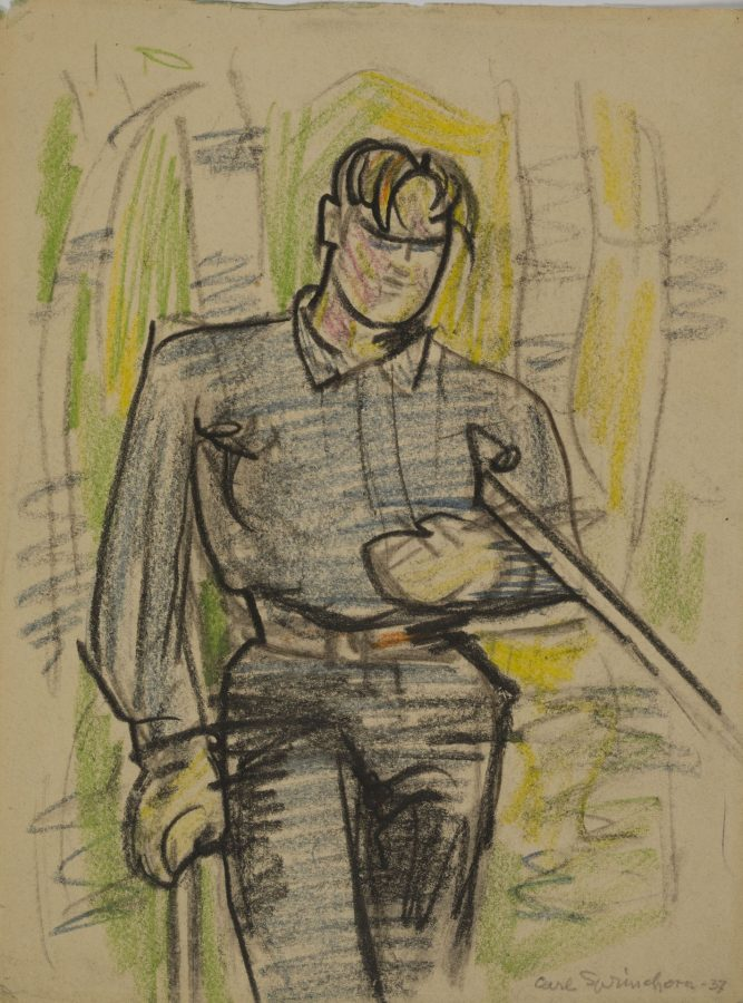 One of the Getchell Boys, Shin Pond, 1937, crayon and charcoal on paper, 2018.5.42