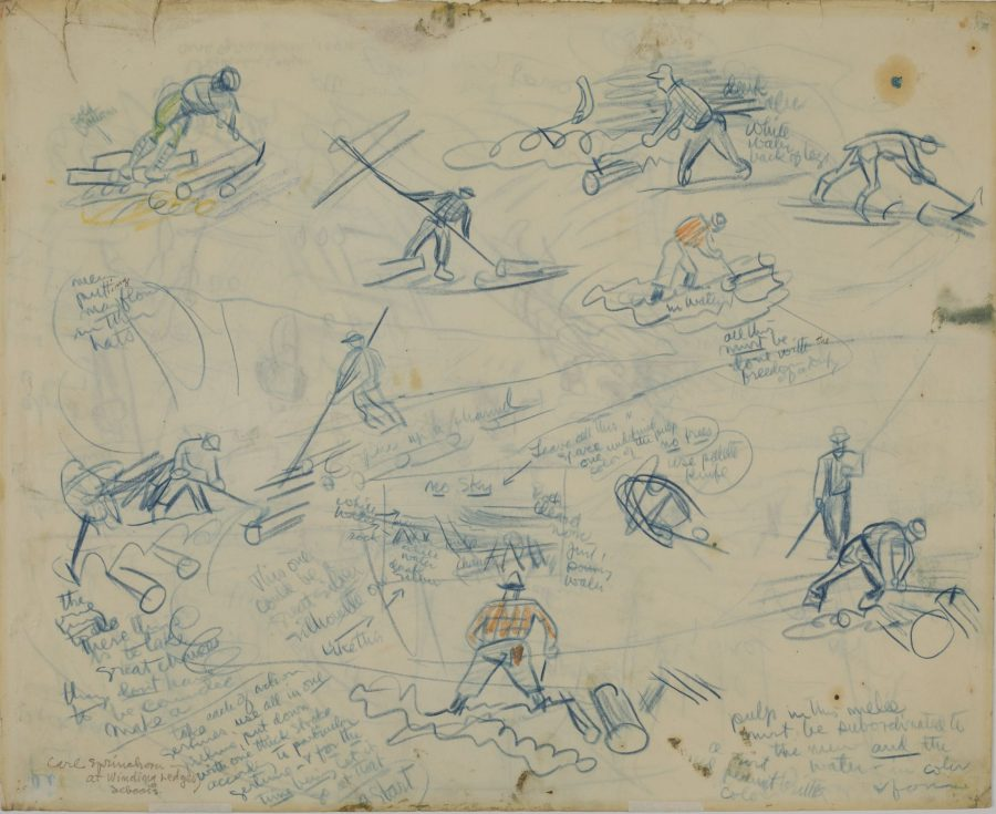 At Winding Ledges, Seboeis – Pulp within the Melee, 1941, crayon on paper, 2018.5.29a