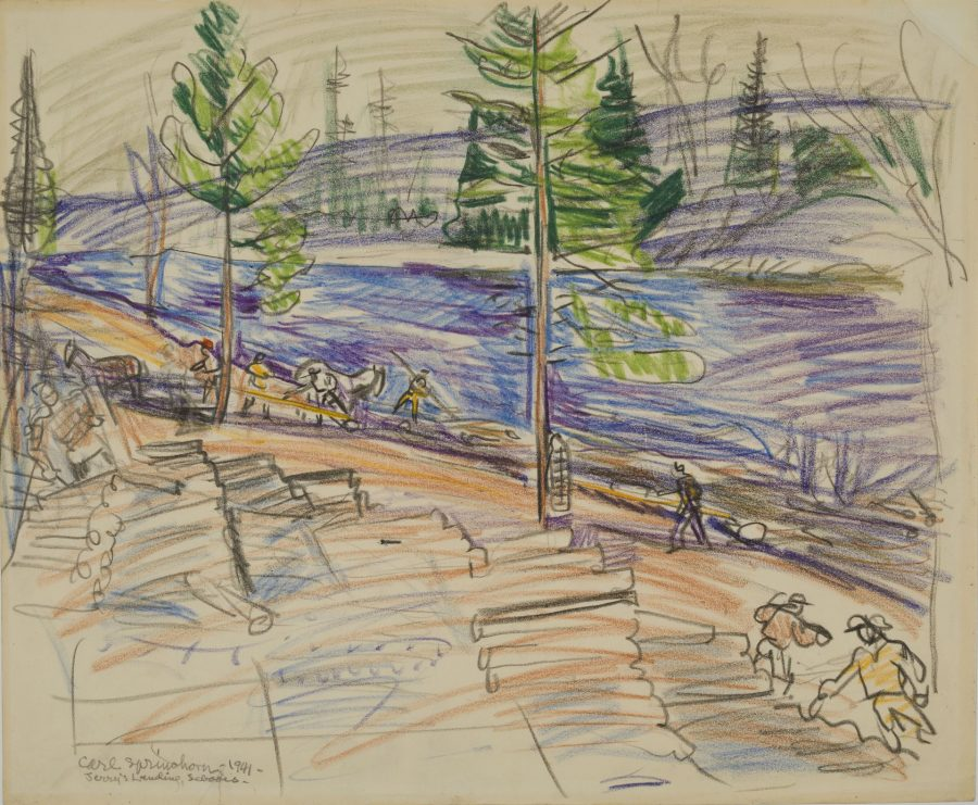 Jerry's Landing, Seboies, 1941, crayon on paper, 2018.5.38