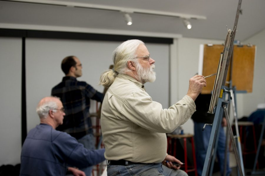 Olin Arts Center  Community members, students, and staff attend a life drawing class.