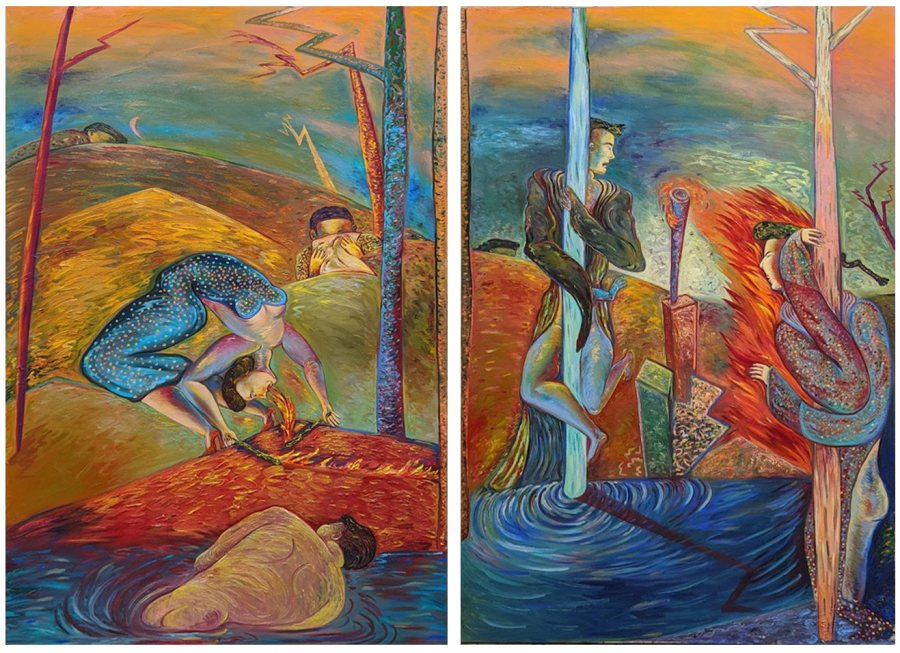 Phyllis Bramson (American, b. 1941), Stages of War, Siege 1 and States of War, Siege 2 (a pair), 1985, oil on canvas, Bates College Museum of Art purchase with the Jane Costello Wellehan Endowment Fund, 2020.3.1