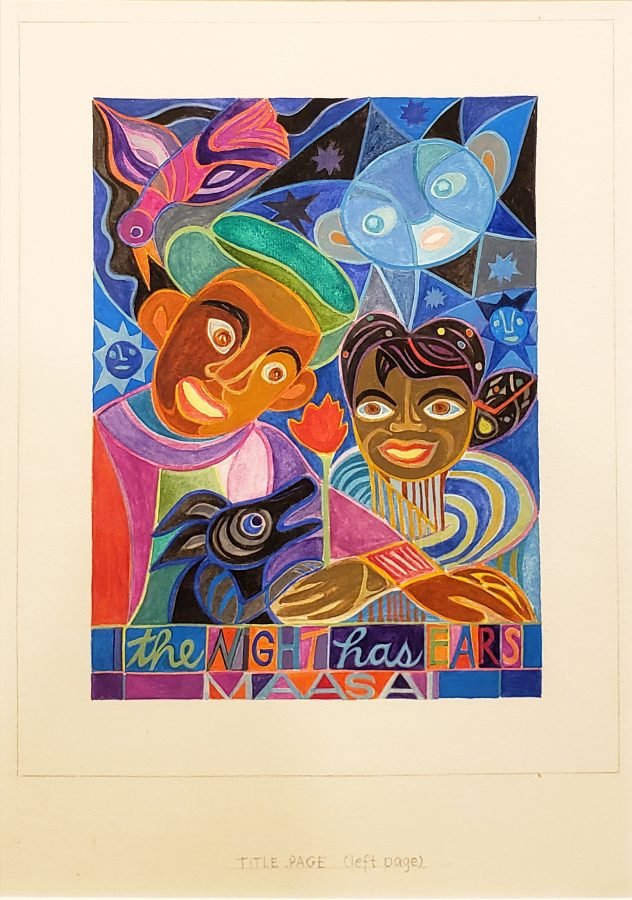 Ashley Bryan, The Night Has Ears, Massai, African Proverbs, (Cover/Left Page), n.d., watercolor and tempera on paper, 18 3/4 x 15 in. (framed), Bates College Museum of Art, gift of Henry Isaacs and Donna Bartnoff Isaacs, 2020.2.5