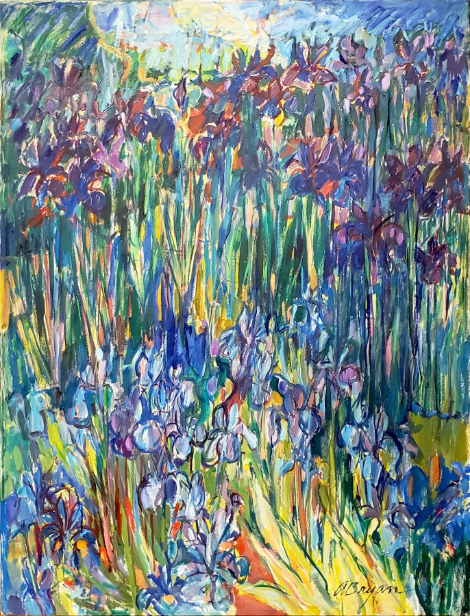 Ashley Bryan, Iris #1, n.d., acrylic on canvas, 48 1/2 x 36 3/4 in., Bates College Museum of Art, gift of Henry Isaacs and Donna Bartnoff Isaacs, 2020.2.9