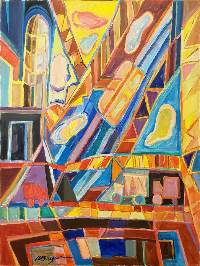 Ashley Bryan, Roosevelt Cable Cars, 1980s, acrylic on canvas, 48 x 36 in., Bates College Museum of Art, gift of Henry Isaacs and Donna Bartnoff Isaacs, 2020.2.7