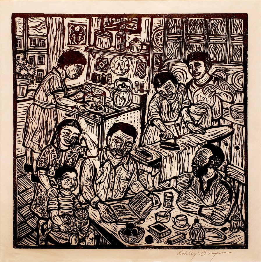 Ashley Bryan, Family Circle (Self Portrait), ca. 1970, linocut on paper, 18 1/4 x 17 7/8 in. (framed), Bates College Museum of Art, gift of Henry Isaacs and Donna Bartnoff Isaacs, 2019.2.11