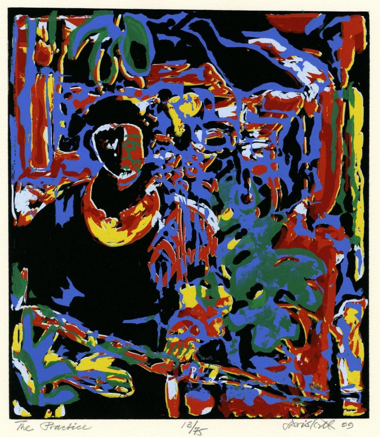 David Driskell (American, 1931 – 2020), The Practice, 2008, ink on paper, 15 x 11 inches, Bates College Museum of Art purchase with a gift from the Leander W. Smith and the Elizabeth A. Gregory MD '38 Fund. 2015.3.1