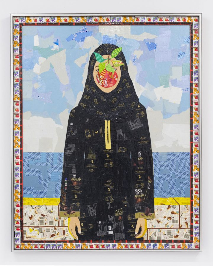 Ghada Al Rabea (Saudi, b. 1979), Bint Al Rijal, 2016, candy wrappers on wood, 52 1/4 x 46 inches, Bates College Museum of Art purchase, 2017.6.1