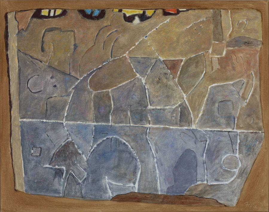 Joseph Fiore (American, 1925 – 2008), Soudan, 1995, oil on canvas, 30 x 38 inches, Bates College Museum of Art, gift of the Maine Farmland Trust, by the Falcon Foundation and the Estate of Joseph Fiore, 2014.2.2