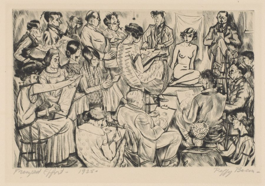 Peggy Bacon (American, 1895 - 1987), Frenzied Effort (The Whitney Studio Club), 1925, Drypoint on paper, 5 3/4 x 9 inches, Bates College Museum of Art, gift of Caroline P. Ehrenfest, Class of '39, 1989.9.11
