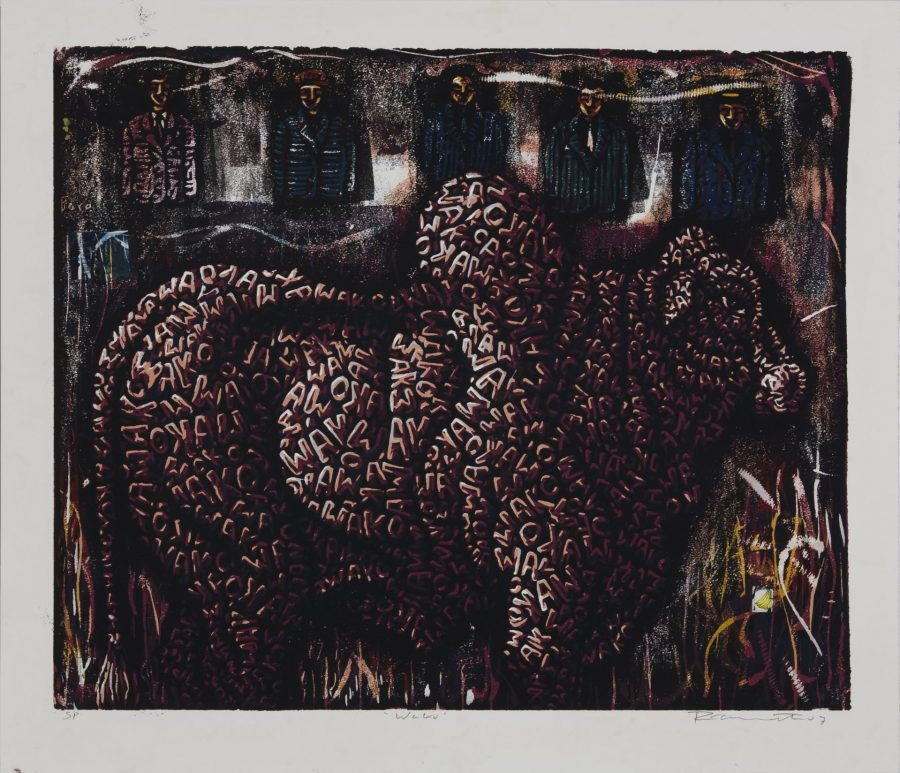 Peterson Kamwathi (Kenyan, b. 1980), Wako, 2007, woodcut and postage stamp, 27 5/8 x 33 1/2 inches, Bates College Museum of Art purchase with the Robert A. and Minna F. Johnson Art Acquisition Fund, 2008.9.1