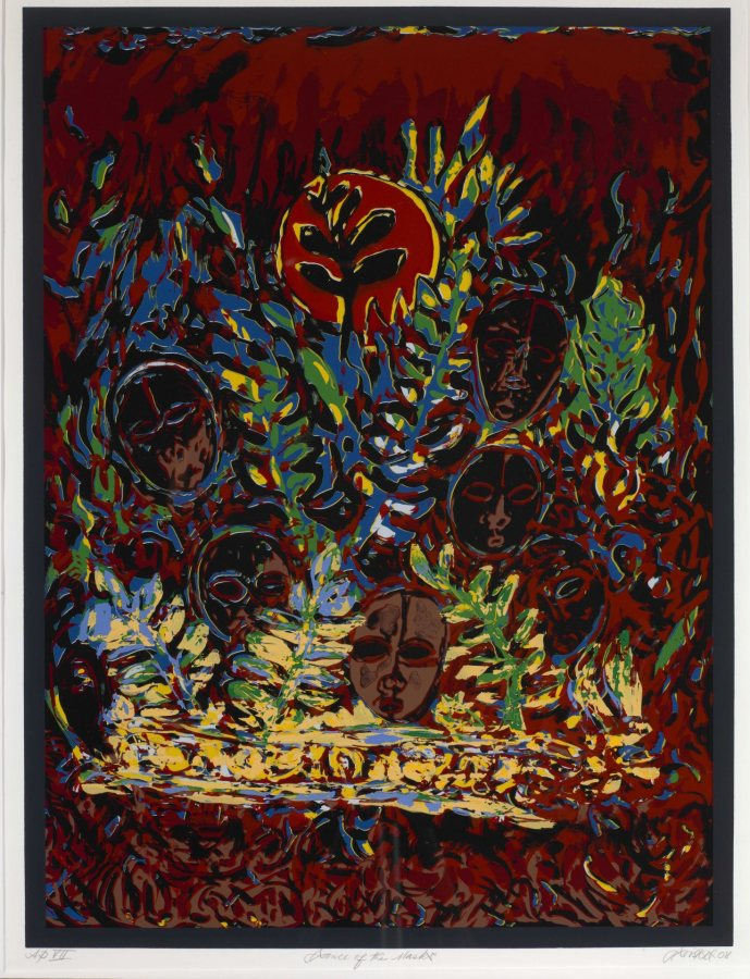 David Driskell (American, 1931 – 2020), Dance of the Masks, 2008, serigraph, artist's proof VII, Bates College Museum of Art purchase with the Jean LeMire Payne '53 Fund, partial gift of the Artist and Greenhut Galleries, 2008.3.1