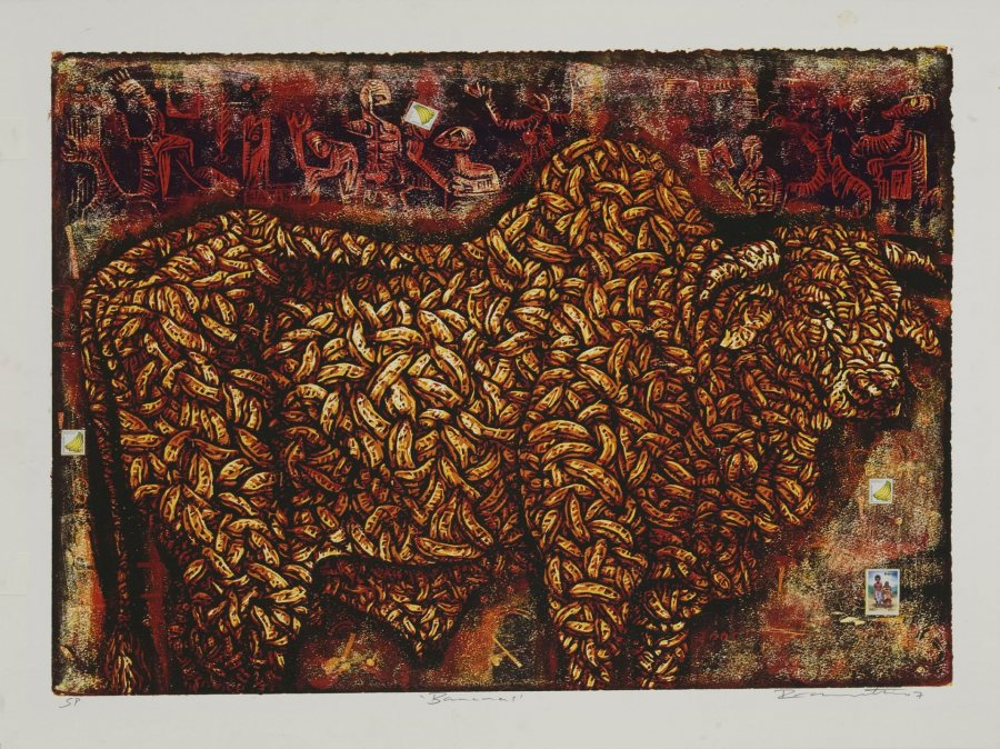 Peterson Kamwathi (Kenyan, b. 1980), Banana's, 2007, woodcut and collage, Bates College Museum of Art purchase with the Robert A. and Minna F. Johnson Art Acquisition Fund, 2008.9.1