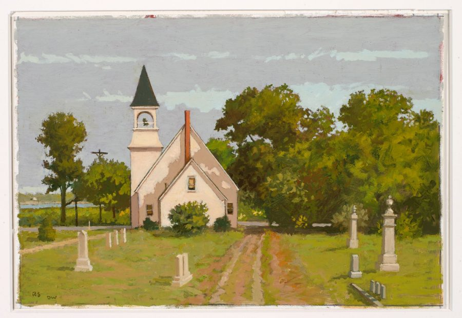 Robert Solotaire, West Harpswell Baptist Church, n.d., oil on paper, 1999.12.1