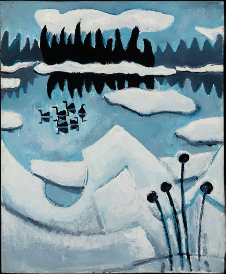 Philip Barter, Cold Ducks, 1983, oil on panel, 2020.1.2