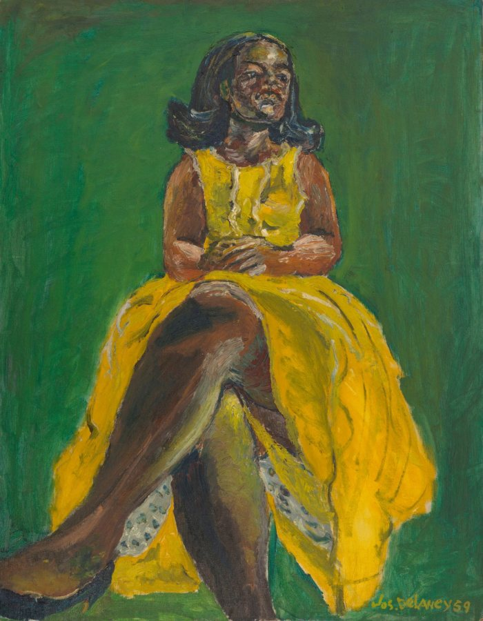 Joseph Delaney, Woman in Yellow Dress, 1959, oil on board, 28 x 21 34 inches, Museum of Art, 2012.9.2