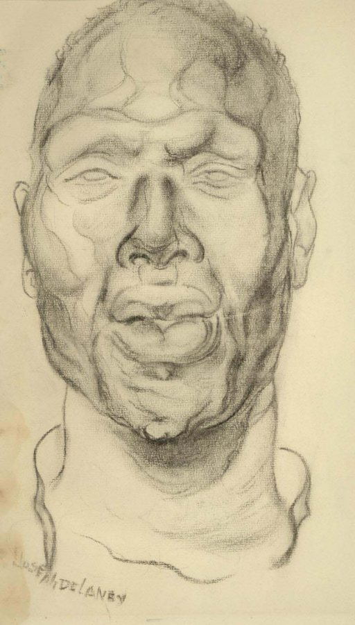 Joseph Delaney, Male Head, ca. 1931, charcoal on paper, 16 x 10 inches