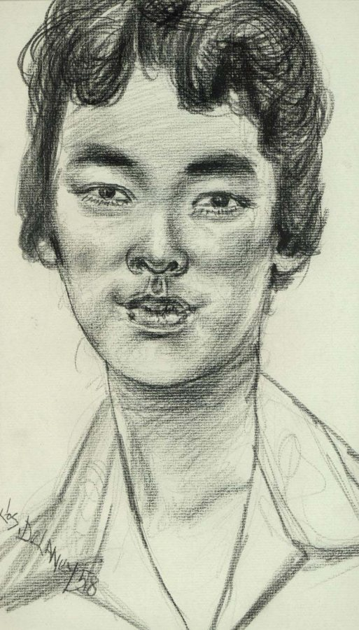 Joseph Delaney, Untitled Portrait, 1958, charcoal on paper