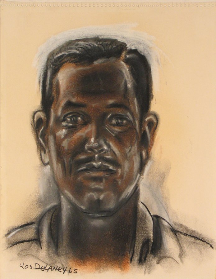 Joseph Delaney, Self Portrait, charcoal and pastel, 1965, 18 x 12 inches