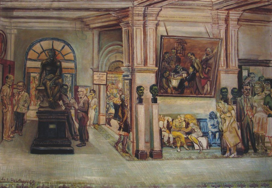 Joseph Delaney, Lobby of the Art Students League, 1965, oil on canvas, 37 x 52 inches