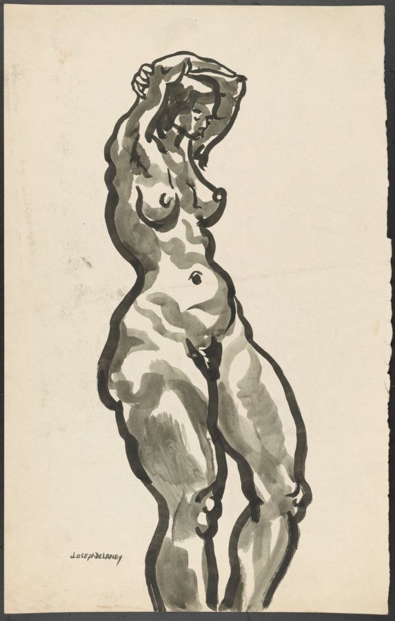 Joseph Delaney, Figure Study, nd, ink on paper, Bates Museum of Art, 2012.9.1