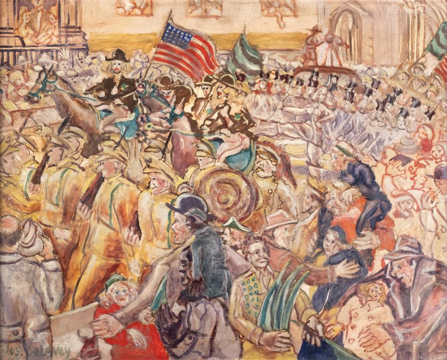 Joseph Delaney, St Patricks Day Parade, 1961, oil on Masonite, 24 x 30 inches