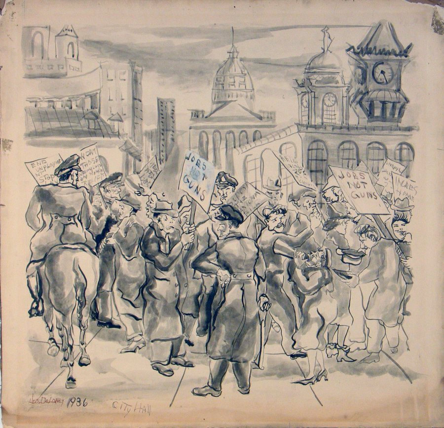 Joseph Delaney, City Hall Picket Line Jobs Not Guns, 1936, pencil and gouache on paper, 19 x 19 inches