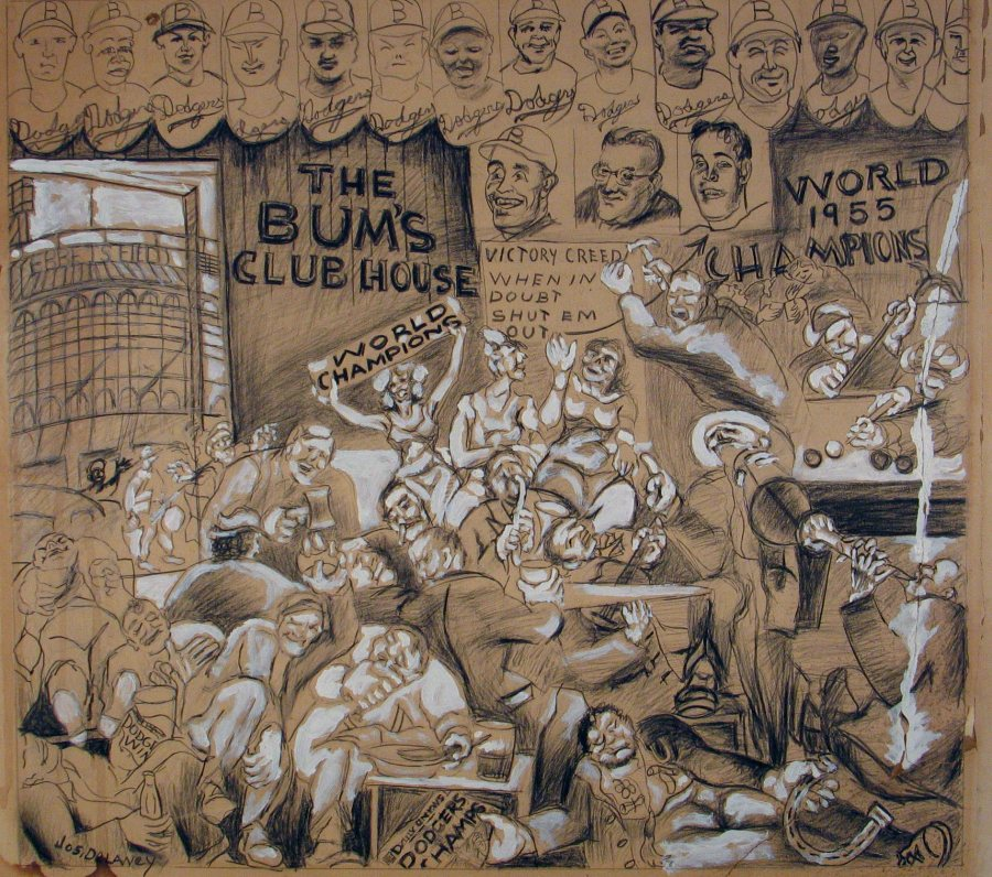 Joseph Delaney, The Bum's Clubhouse, World Champion Dodgers, 1955, charcoal and pencil on paper, 28 x 31 inches