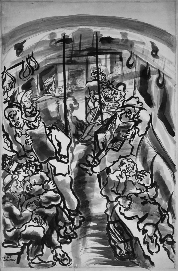 Joseph Delaney, Riding the Subway, nd, ink and ink wash, 24 x 16 inches