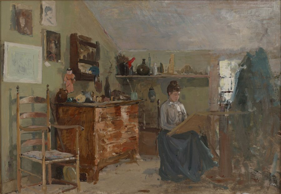 Charles Woodbury, Marcia in Studio, Artist's Wife in Ogunquit, 1888, oil on canvas, 14 ¼ x 20 ¼ inches, 2019.4.13