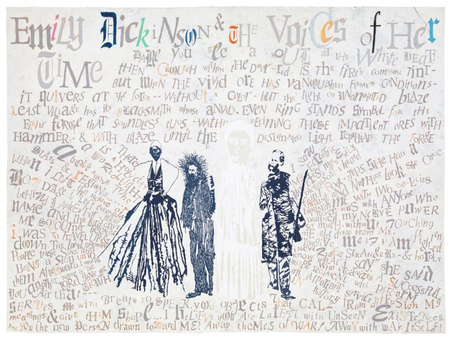 Lesley Dill, Emily Dickinson and the Voices of Her Time, 2016, oil paint, hand-cut paper, and thread on fabric-backed acrylic painted paper, 72 x 96 inches