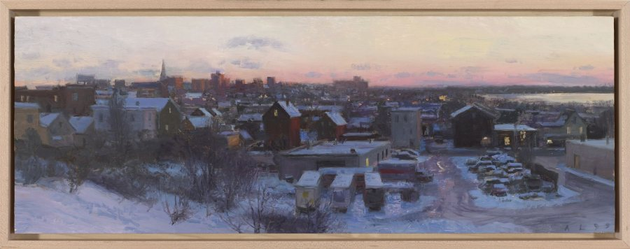 Ann Lofquist, Afterglow Over Munjoy Hill, 1999, oil on canvas, 6 7/7 x 18 7/8 inches, 2019.4.33