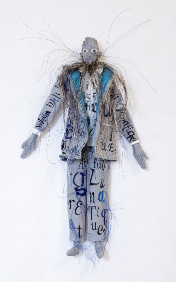 Lesley Dill, When Wilt Thou Be At Full Great Lunatique?, 2018, fabric, thread, ink, horsehair, 13.5 x 8 x 1 inches