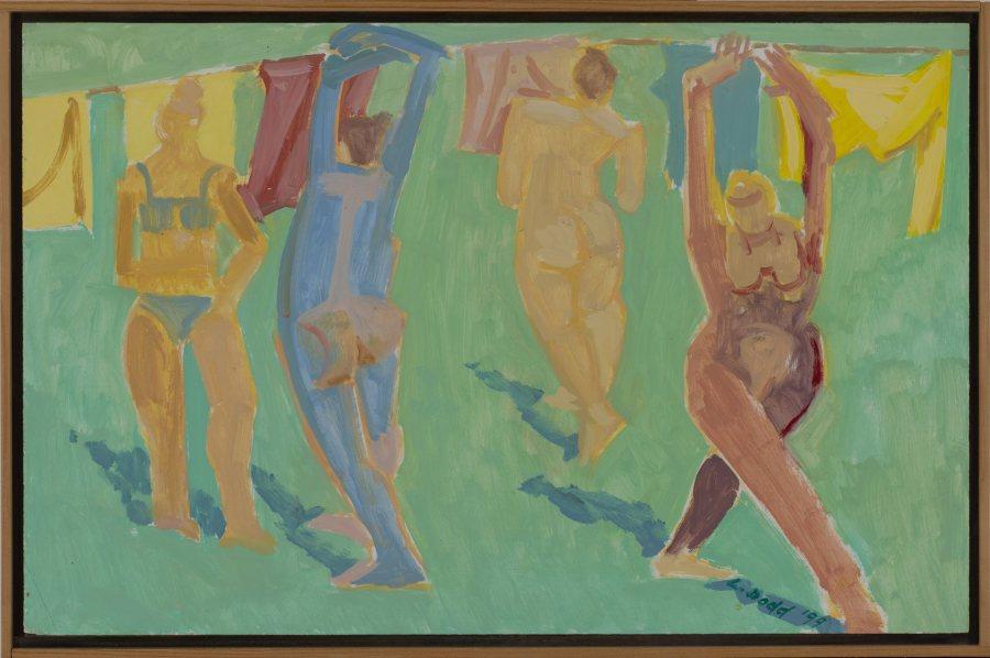 Lois Dodd, Women Dancing, 1999, oil on board, 13 x 20 1/8 inches, 2019.4.21